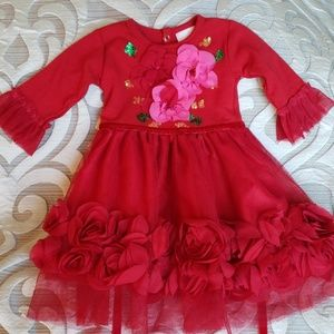 💞Haute Baby Red Floral Dress-3-6 Month💞